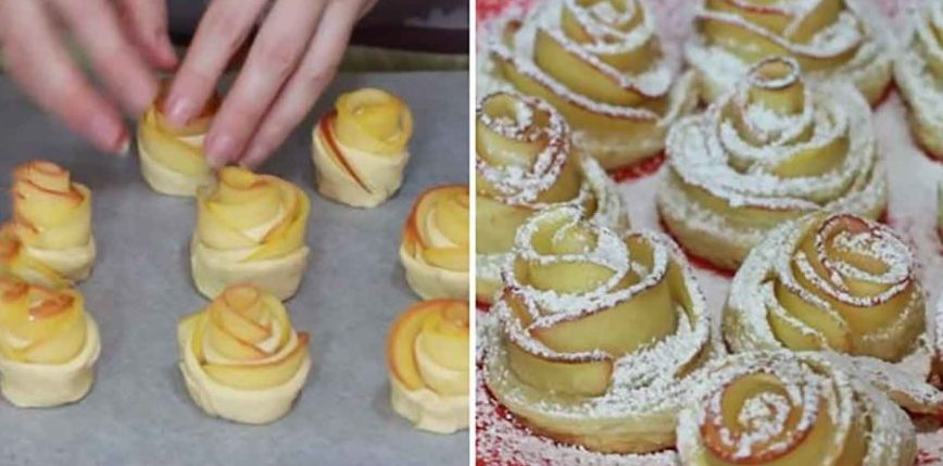Trandafirași cu mere, din aluat foietaj – Sunt delicioși și arată extraordinar
