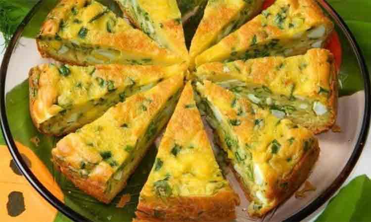 Placinta cu ceapa verde si oua. Perfecta pentru micul dejun